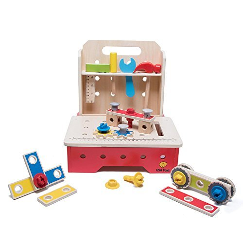 7250bb95bfa4 Workbench Kids Tool Set - Complete Foldable Workshop w  Construction Toys  For Toddlers   Children