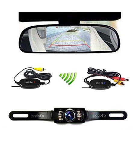 """podofo® Cámara Inalámbrica 4.3 """"TFT LCD Espejo Retrovisor Monitor Invirtiendo Cámara de Visión Nocturna"""