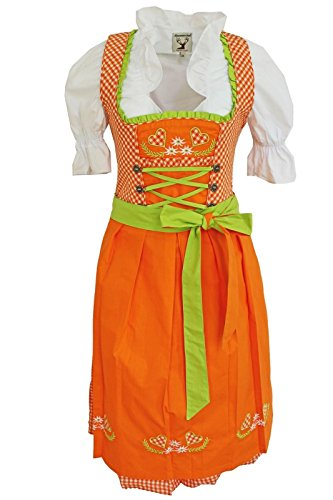 3tlg. Dirndl-Set - Trachtenkleid, Bluse, Schürze, Gr.50, orange, ALM1516