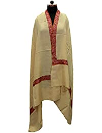 Off White With Brown Embroidered Border Pashmina Kashmiri Shawl