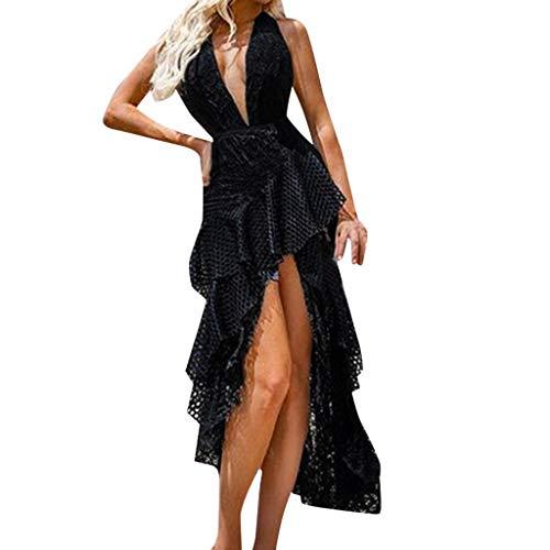 Mitte Der Wade Kleid (AZZRA Frauen schnüren Sich ärmelloses, figurbetontes Cocktailparty-Kleid zur Mitte der Wade Damen Kurzarm Casual elegant aus Spitzen Ärmellos unregelmässig cocktailkleider Party ballkleid)