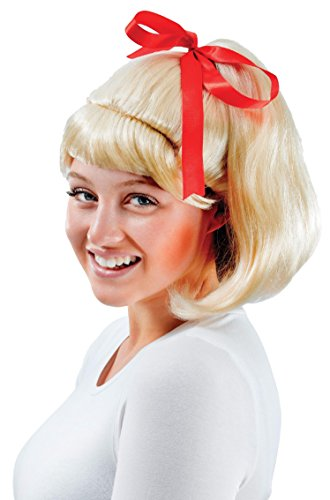 Ladies Blonde 1950s High School Girl Ponytail with Bow Fancy Dress Costume Outfit Wig (One Size)