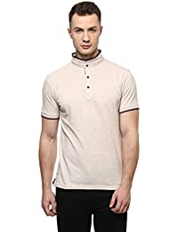 Cayman Beige Solid Regular Fit Polo T-Shirts