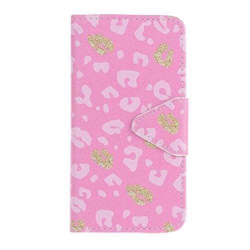 Cozy Hut Portefeuille Housse Coque à rabat pour iPhone 6 6S, iPhone 6 6S Bookstyle Coque Wallet Cuir Folio Housse, iPhone 6 6S Leather Wallet Case PU Cover Skin,Coque iPhone 6 6S (4.7 Pouces) - Élégan Leopard Rose