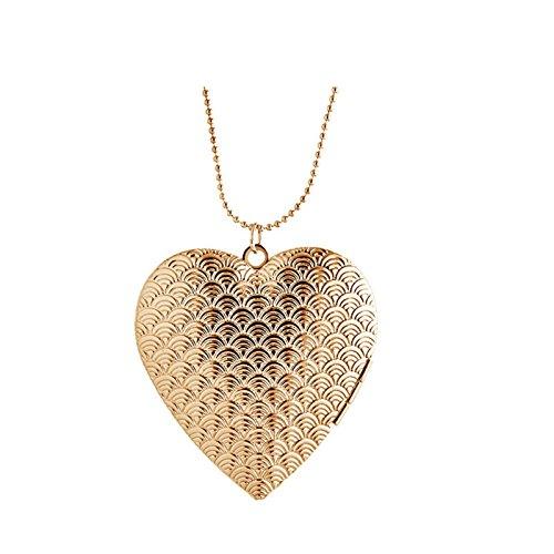 Beydodo Foto Amulett zum öffnen mit Kette Herz Kette mit Anhänger Rosegold Herren Damen