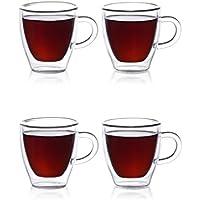 Tazas Eparé para espresso; juego de tacitas de vidrio con aislamiento (2 oz, 60 ml); taza con doble pared térmica; taza para beber té, latte, espresso largo o capuchino; 4 tazas