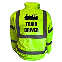 Train Driver Kids Hi Vis Yellow Bomber Jacket, Reflective High Visibility Safety Childs Coat, By Brook Hi Vis