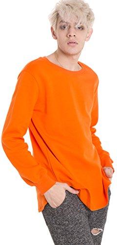 Pizoff Unisex Hip Hop Urban Basic Langärmliges Lang Geschnittener Jersey Sweat T-Shirt mit Abgerundeter Saum Y1195-orange