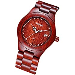 Elenxs Men's Quartz Watch Day Display Lightweight Waterproof Ebony Wrist Watch red ebony