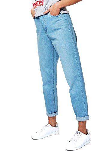 Bleu Femmes Sophie Jean Mom Taille Haute Avec Ourlet Retroussé Bleu