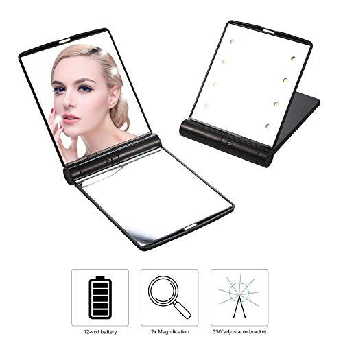 Tragbare Kosmetikspiegel mit LED Beleuchtung, Beleuchteter Zweiseitiger Schminkspiegel, 1X / 2X...