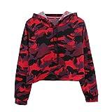 MEIbax Langarm Camouflage Patchwork Hoodie Damen O-Ausschnitt Sweatshirt Lässige Kapuzen Bluse Pullover