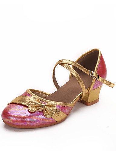Moderne Mode Sandalen anpassbare Kids Dance Schuhe Leder moderne Heels niedrigem Absatz Indoor/Outdoor/Performance Pink/White/Fuchsia Fuchsia