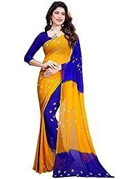 Amyaa Fashion Women's Chiffon Saree (Yellow & Blue_ Free Size)