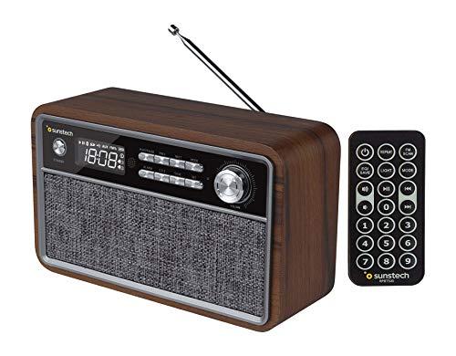 Oferta de SUNSTECH RPBT500. Radio FM compacta de Madera con presintonías, Modo Reloj, Alarma Dual. Altavoz Bluetooth (v4.2) de Graves potentes, Manos Libres, USB, Micro SD y aux-in. Incluye Mando a Distancia.