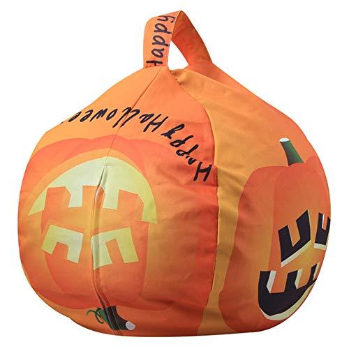 Youngshion Sitzsack für Kinder, mit Tier-Motiv, Baumwoll-Leinen, Spielzeug-Organizer, Stuhl für Stoffe, Plüsch-Spielzeug, Kleidung, Decken, Handtücher, canvas, Halloween Pumpkin, 66 cm