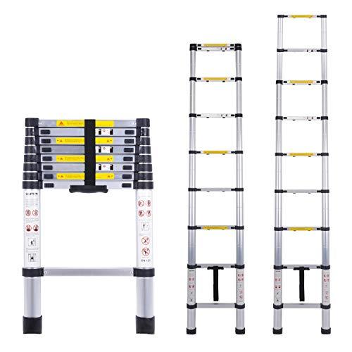 Myifan - Escalera telescópica multiusos de aluminio portátil. Escalera plegable y extensible EN131...