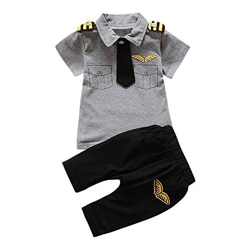 Preisvergleich Produktbild Heligen Räumungsverkauf Neugeborenes Baby Jungen Mädchen Gentleman Tie Wing Muster Tops Shirt Hosen 2 Stücke Outfits
