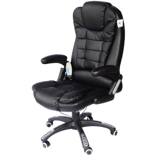 Homcom poltrona sedia massaggiante da ufficio con riscaldamento ecopelle 62 x 68 x 111-121cm nero