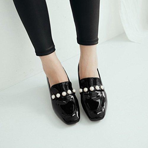 Oaleen Mocassins vernis femme à talon moyen perles loafers chaussures escarpins rétro Noir