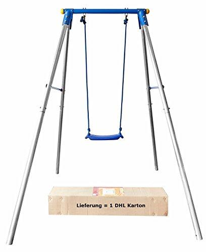 Schaukelgestell aus Stahl, sehr stabil, mit Brettschaukel, Maße: 200x162cm, Schaukel aus PE-Material, 4 Bodenanker, UV-geschützt, Izzy Sport