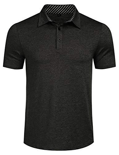 Romanstii Men's Polo Shirt Short Sleeve & Long Sleeve Casual Fit Plaid Collar T-Shirts