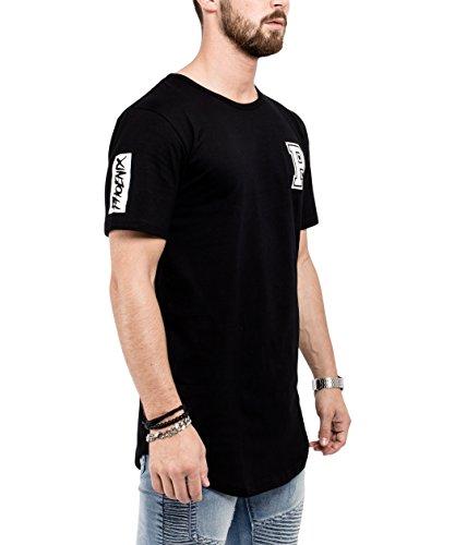 Phoenix Allstar Oversize T-Shirt Herren Longshirt Mit 09 Print Longline Tee Langes Stylisches Shirt - S M L XL Schwarz