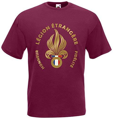 AkyTEX Fremdenlegion Frankreich Légion étrangère T-Shirt Fanshirt (Burgund, XL)