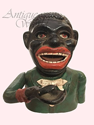 Antiques World Antique Jolly Cast Iron Money Box Vintage Re-Generated Man Starkies Americana AWUSAMB 01 -