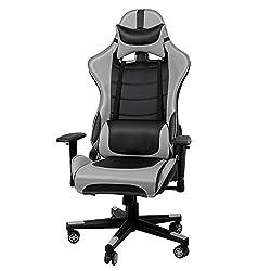 IWMH Racing Chaise de Bureau En PU, Fauteuil siège Gaming avec inclinaison de 135° Appui-tête et Soutien Lombaire Ajustable (Gris)