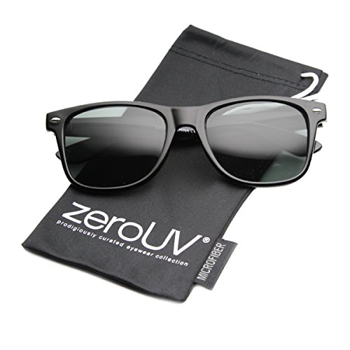 zeroUV - Classic Eyewear 80's Retro Large Horn Rimmed Style Sunglasses (Black/Glass Lens)