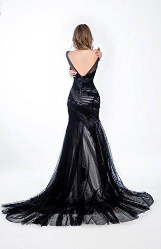 Bridal_Mall Damen Langärmlig Spitze Applique Schwarz Nixe Tulle Abend Kleider Black