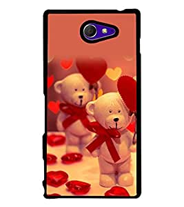 printtech Cute Teddy Heart Ribbon Back Case Cover for Sony Xperia M2 Dual D2302 , Sony Xperia M2