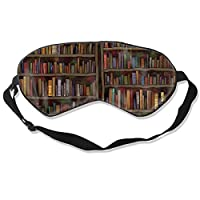 Premium Adjustable Blindfold Eyeshade for Men Women and Kids, Comfortable Sleep Eye Mask for Travel/Nap/Shift Work (Vintage Library Bookshelf Bookcase)