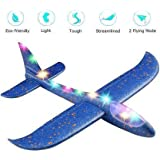 """TechBlaze Airplane Toy with Lights 17.5"""" Large Throwing Foam Plane, Outdoor Foam Plane Glider Toy Sports Dual Flight…"""
