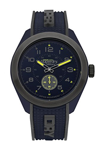 Superdry Men's 'Navigator Military' Quartz Plastic and Silicone Casual Watch, Color:Blue (Model: SYG214U)