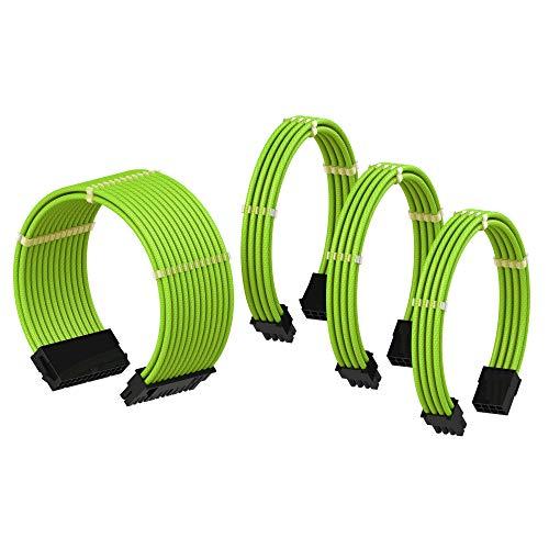 LINKUP PSU Cable Extension Sleeved Custom Mod GPU PC Power Supply Braided w/Comb Kit |1x 24 pin (20+4) | 1x 8 pin (4+4) CPU | 2X 8 Pin (6+2) GPU Set | 50CM 500MM - Green 8 Pin Wire
