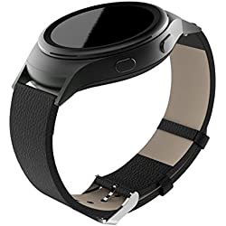 Fulltime(TM) Soft Leather Watch Band Strap + Lugs Adapters For Samsung Galaxy Gear S2 SM-R720