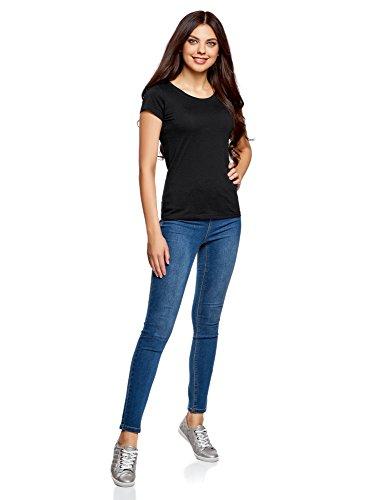 oodji Ultra Damen T-Shirt Basic aus Baumwolle Schwarz (2900N)