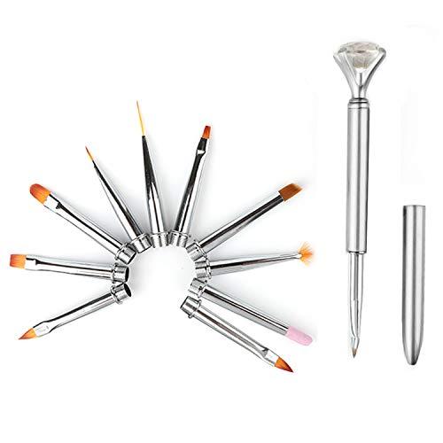 1 PCS Pole + 10 PCS Style Assorti Têtes Remplaçable Nail Art Dessin Peinture Stylos Brosses pour Femmes Filles Professionnel Débutant Argent