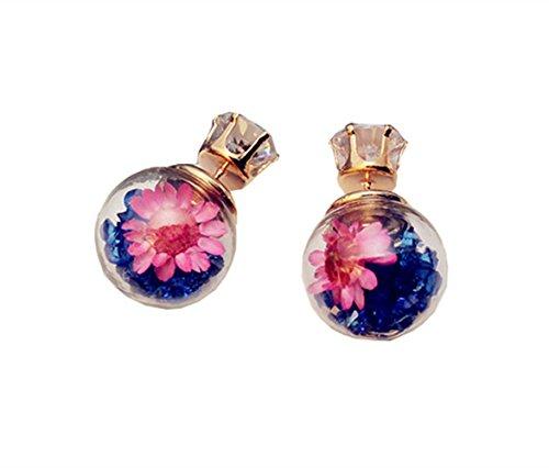 Preisvergleich Produktbild Strass-Glasball-Blumen-Bolzen-Ohrringe für Frauen (Kugelohrringe A)