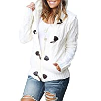 Aleumdr Womens Warm Button Up Knit Hooded Sweater with Pockets Cardigans Pullover Outwear