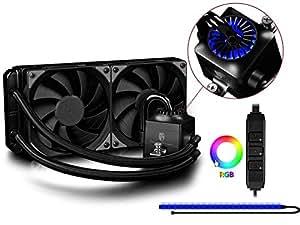 Deepcool Captain 240 EX RGB Sistema di Raffreddamento a Liquido AIO Per Processore AMD Intel CPU Support AM4 2 Ventole da 120 mm PWM con Pompa RGB e Striscia LED RGB