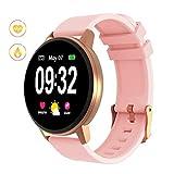 GOKOO Montre Intelligente Connectée Homme Smartwatch Sport Montre Étanche IP67 Bluetooth Tracker d'Activité Podomètre pour Android Et iOS (Rose)