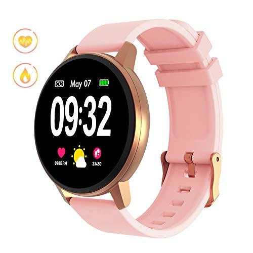 Smartwatch Fitness Armbanduhr Damen Herren mit Full-Touchscreen GOKOO Wasserdicht IP67 Fitness Tracker Aktivitätstracker Pulsuhren blutdruck uhr mit Kalorienzähler Schlafmonitor für IOS Android (Rosa)