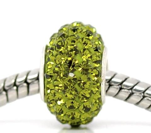 1x vert armée foncé CZ strass Argent 925Core Perle charm pour bracelets à breloques
