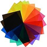 eBoot 18 Piezas Filtro de Luz de Gel Filtro de Corrección de Colores Transparentes Hojas de Plástico, 11,7 por 8,3 Pulgadas, 9 Colores