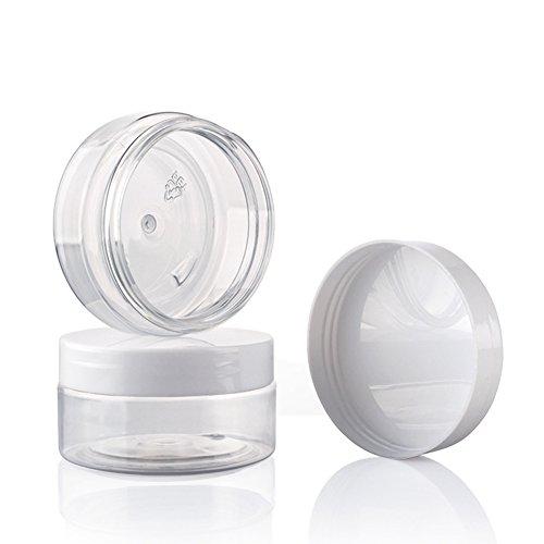 HugeStore, barattolo da 10ml/10grammi, vuoto trasparente, per nail art, con tappo a vite, impilabile, Plastica, bianco, 10 Stücks