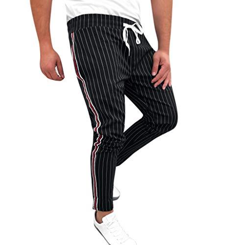 HROIJSL Mens Hosen Joggers Striped Patchwork Casual Kordelzug Jogginghose Lange Hose mit seitlichen Streifen Einfarbig Grau Schwarz Marine Herren Casual-Pants Straight-fit Cargo Pant -