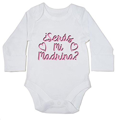 HippoWarehouse ¿Serás Mi Madrina? (Rosa) Momento Body Manga Larga Bodys Pijama niños niñas Unisex